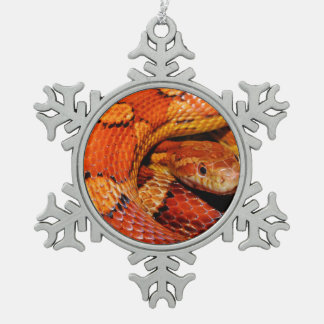Corn Snake Snowflake Pewter Christmas Ornament