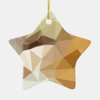 Corn Yellow Beige Abstract Low Polygon Background Ceramic Ornament