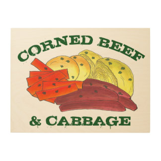 Corned Beef and Cabbage Meat Potatoes Irish Food Wood Print