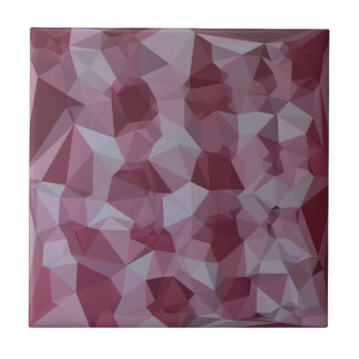 Cornell Red Abstract Low Polygon Background Ceramic Tile