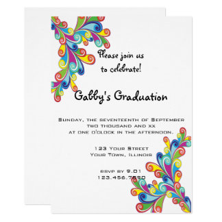 Corner Curls Graduation Party Invitation