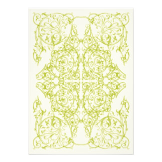 Corner Flourish Wedding Invitation (Chartreuse)