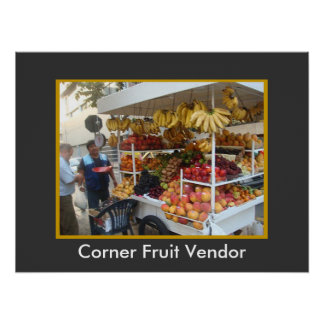 Corner Fruit Vendor in Lima, Peru Poster