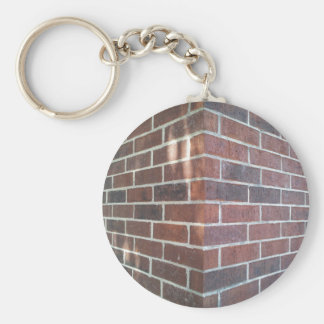 Corner of a Red Brick Building. Basic Round Button Key Ring
