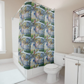 Corner of Flying Pig Farm and Wine a Bit. Shower Curtain