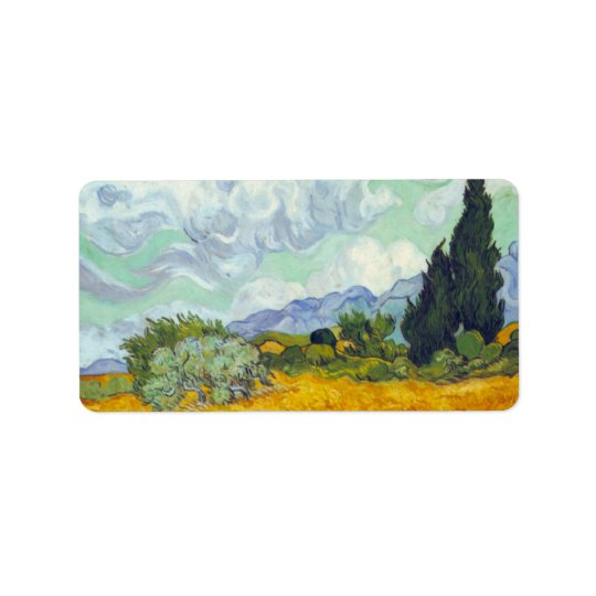 Cornfield with Cyprusses by Vincent van Gogh Label