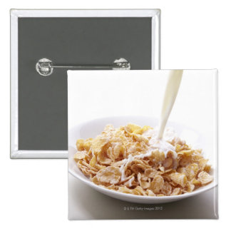 Cornflakes and milk 15 cm square badge