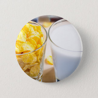 Cornflakes and milk for breakfast 6 cm round badge