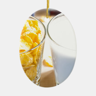 Cornflakes and milk for breakfast ceramic oval decoration