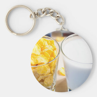 Cornflakes and milk for breakfast key ring