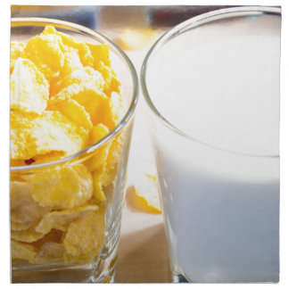 Cornflakes and milk for breakfast napkin
