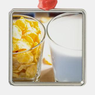 Cornflakes and milk for breakfast Silver-Colored square decoration