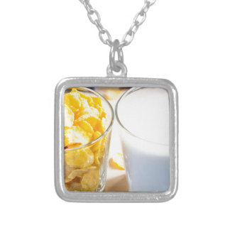 Cornflakes and milk for breakfast silver plated necklace