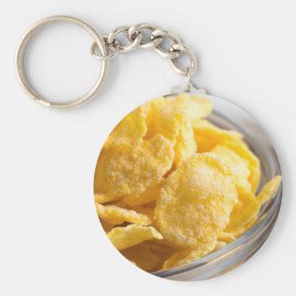 Cornflakes in a transparent bowl closeup key ring