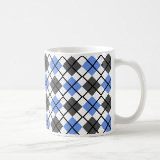 Cornflower Blue, Black, Grey on White Argyle Mug