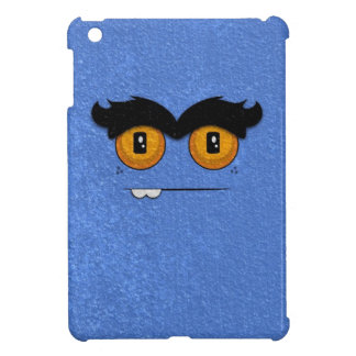 Cornflower Blue Funny Face Unibrow Monster iPad Mini Cases