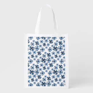 Cornflower Blue Lucky Shamrock Clover Reusable Grocery Bag