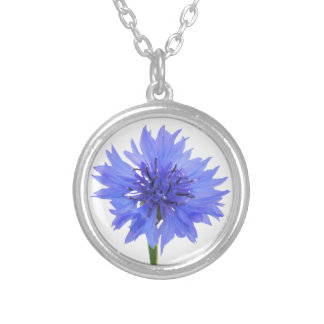 cornflower blue silver plated necklace