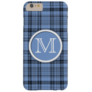 Cornflower Blue Tartan Monogram Barely There iPhone 6 Plus Case
