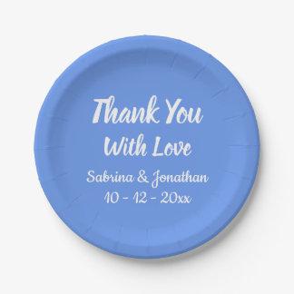 Cornflower Blue Thank You Wedding, Bridal Shower Paper Plate