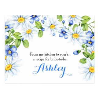Cornflower Blue White Daisy Floral Recipe Card