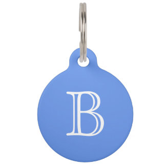 Cornflower Blue White Monogram Initial Name Pet ID Tag
