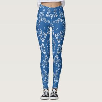 Cornflower Blue White Scroll Print Yoga Leggings