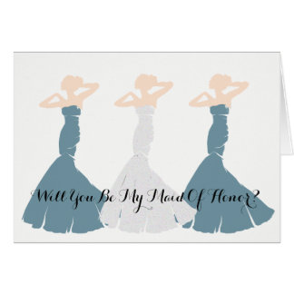 Cornflower Blue Will You Be My Maid Of Honor Cards