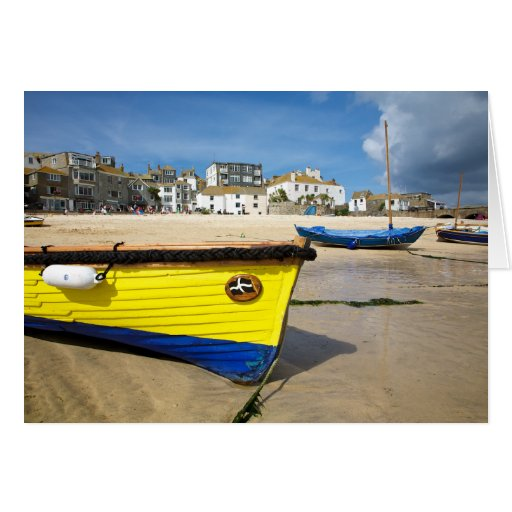 Cornish gig in St.Ives Harbour Greeting Card