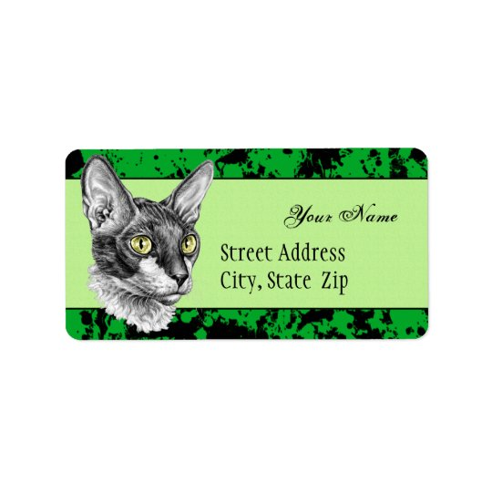 Cornish Rex Sketch Label