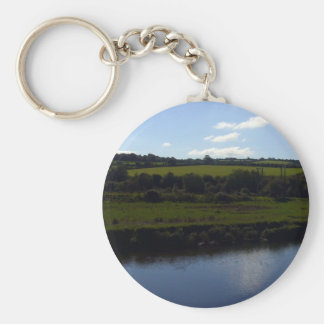 Cornish River and Countryside Basic Round Button Key Ring