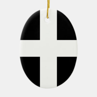 Cornish Saint Piran's Cornwall Flag - Baner Peran Ceramic Ornament