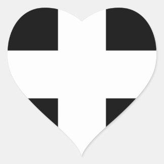 Cornish Saint Piran's Cornwall Flag - Baner Peran Heart Sticker