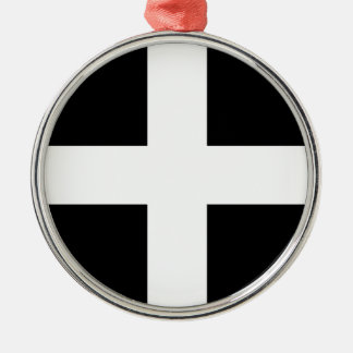 Cornish Saint Piran's Cornwall Flag - Baner Peran Metal Ornament
