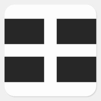 Cornish Saint Piran's Cornwall Flag - Baner Peran Square Sticker