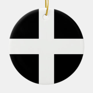 Cornish Saint Piran's Flag - Flag of Cornwall Ceramic Ornament