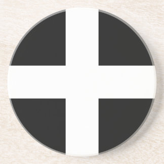 Cornish Saint Piran's Flag - Flag of Cornwall Coaster