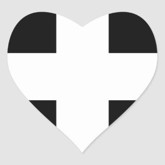 Cornish Saint Piran's Flag - Flag of Cornwall Heart Sticker