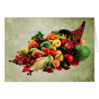 Cornucopia Horn of Plenty   Happy Thanksgiving Card