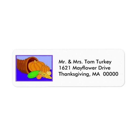 Cornucopia Thanksgiving Return Address Sticker