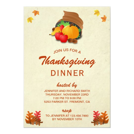 Cornucopia | Vintage Thanksgiving Dinner Party Card