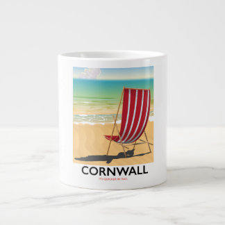 Cornwall beach classic travel poster large coffee mug