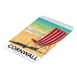 Cornwall beach classic travel poster magnet