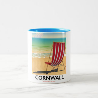 Cornwall beach classic travel poster Two-Tone coffee mug