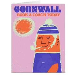 """Cornwall fisherman vintage """"take a coach"""" poster card"""
