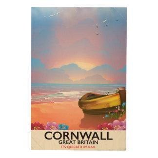 Cornwall fishing boat vintage travel poster