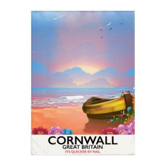 Cornwall fishing boat vintage travel poster acrylic print