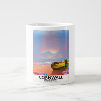 Cornwall fishing boat vintage travel poster large coffee mug
