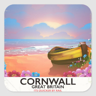 Cornwall fishing boat vintage travel poster square sticker