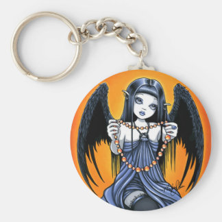 """Corona"" Gothic Raven Winged Angel Art Keychain"